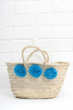 Mini Market Pom Pom Basket in Teal