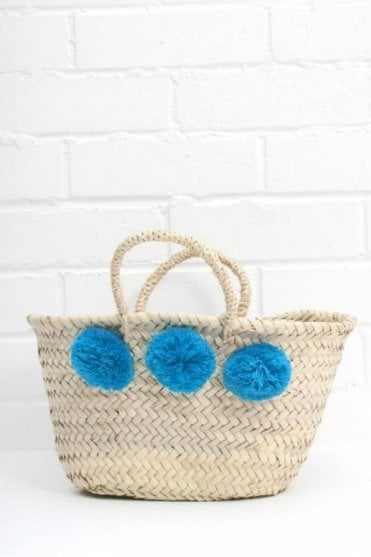 Mini Market Pom Pom Basket in Teal