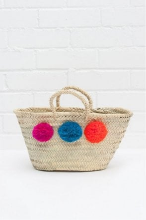 Mini Pom Pom Market Basket in Fuchsia/Blue/Orange