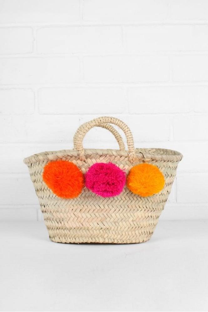 Bohemia Mini Pom Pom Market Basket in Orange/Pink/Yellow