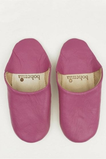 Moroccan Babouche Basic Slippers in Fuchsia