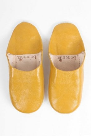 Moroccan Babouche Basic Slippers in Mustard