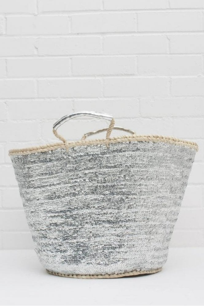 Bohemia Sequin Basket in Silver