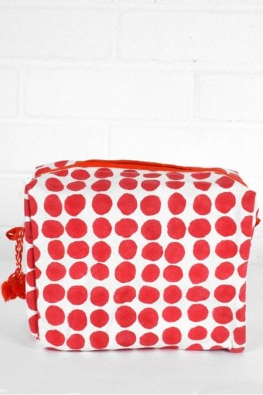 Spot Print Wash Bag in Dark Pink and Orange