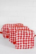 Bohemia Spot Print Wash Bag in Dark Pink and Orange