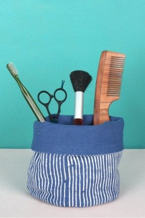 Stripe Canvas Storage Pots in Indigo