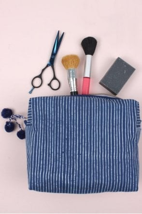 Stripe Wash Bag in Indigo