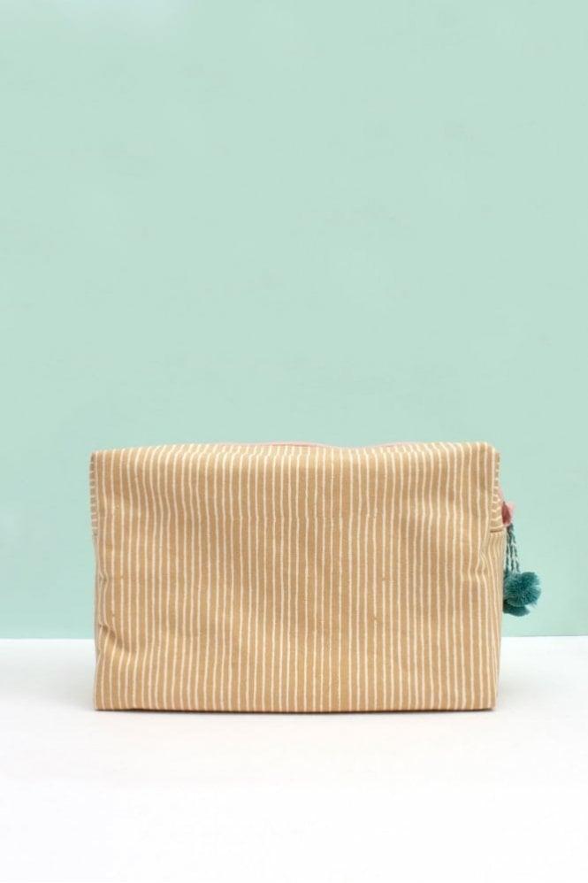 Bohemia Stripe Wash Bag in Mustard