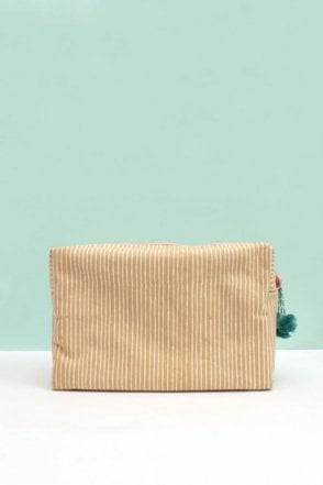 Stripe Wash Bag in Mustard