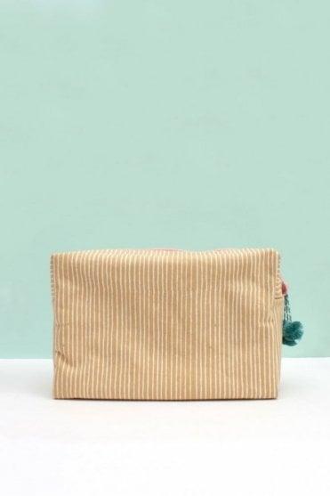 Stripe Wash Bag in Mustard