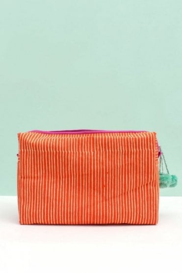 Stripe Wash Bag in Orange