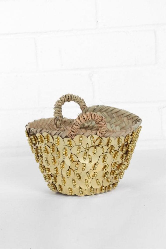 Bohemia Tiny & Mini Sequin Bead Baskets in Gold