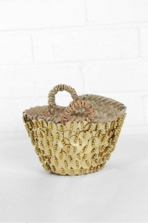 Tiny & Mini Sequin Bead Baskets in Gold