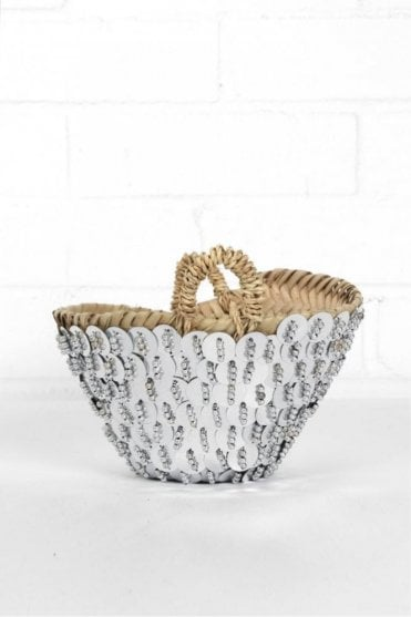 Tiny Sequin Bead Basket in Silver