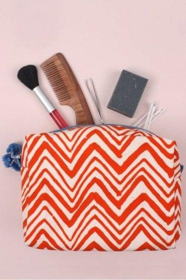 Zig Zag Wash Bag in Orange