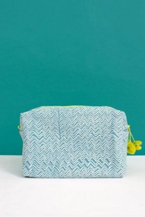 Zig Zag Washbag in Duck Egg