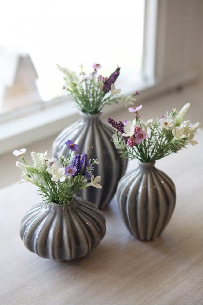 Broste Copenhagen Amalie Set of 3 Vases in Smoke Pearl