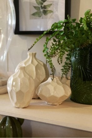 Amalfi Set Of 3 Ceramic Vases in Buttercream
