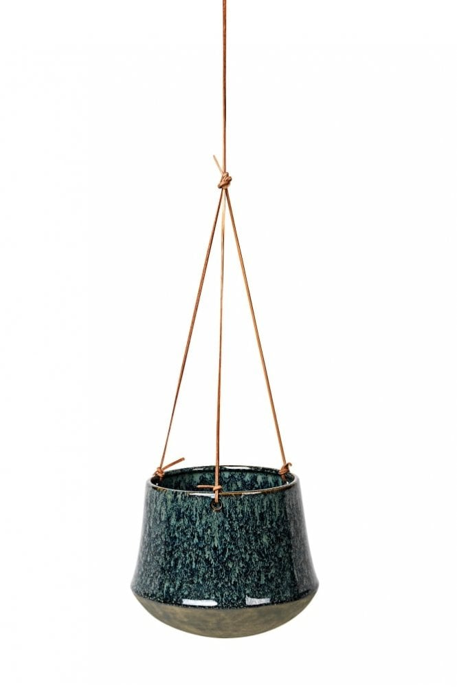 Broste Copenhagen Annie Hanging Flower Pot in Dark Blue Antique