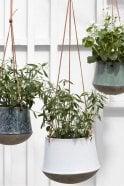 Broste Copenhagen Annie Hanging Flower Pot in White Antique
