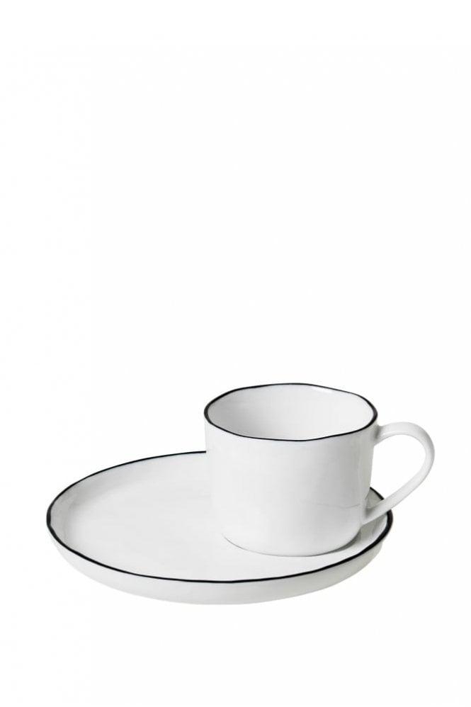 Broste Copenhagen Stoneware Cup with Saucer in Salt