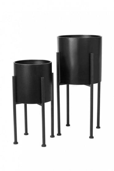 Trip Metal Flowerpot in Black