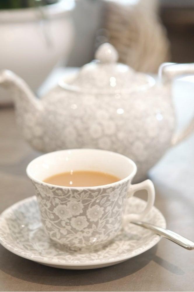 Burleigh Dove Grey Calico Teacup and Saucer