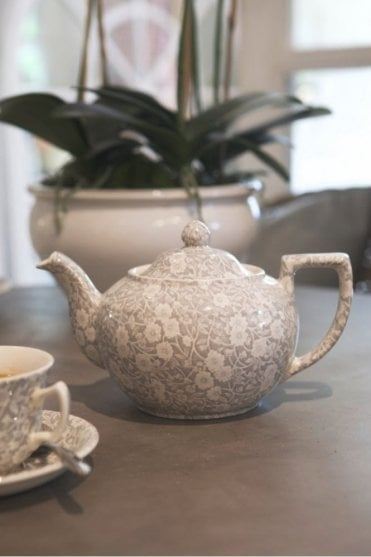 Dove Grey Calico Teapot