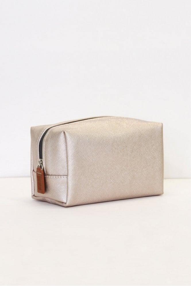 Caroline Gardner Rose Gold Metallic Cube Cosmetic Bag