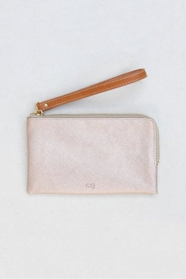 Rose Tinted Metallic Wristlet Purse
