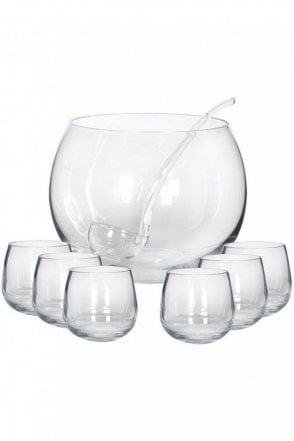 Glass Punch Bowl Set