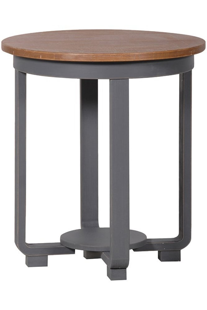 Coach house grey wash round end table at sue parkinson for Coach furniture