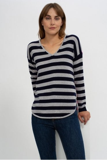 Amber Sweater in Navy/Grey/Dayglow