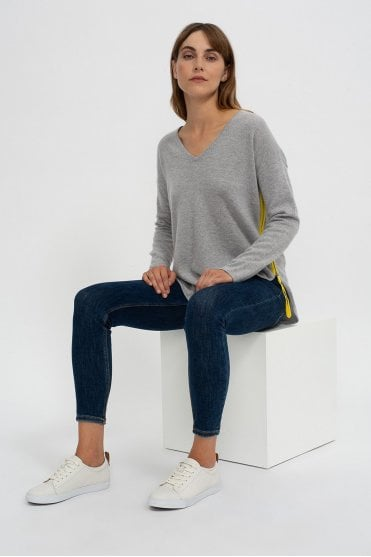 Mia Sweater in Grey/Canary