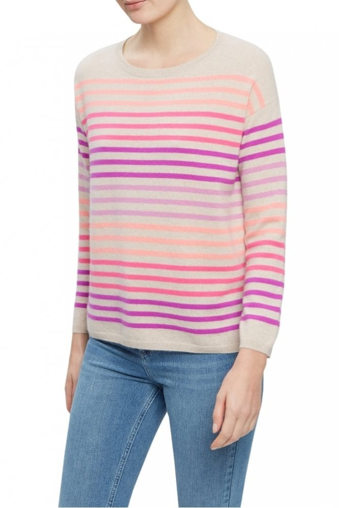 Cocoa Cashmere The Rainbow Sweater in Oatmeal, Bromo, Dayglow