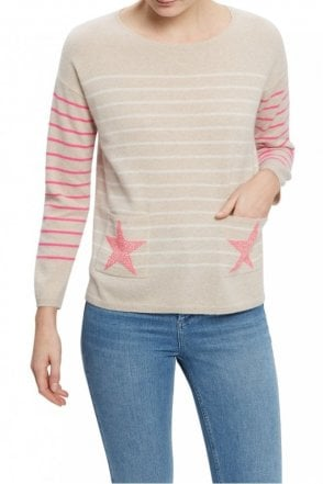 The Star Sweater in Oatmeal, Chalk, Dayglow