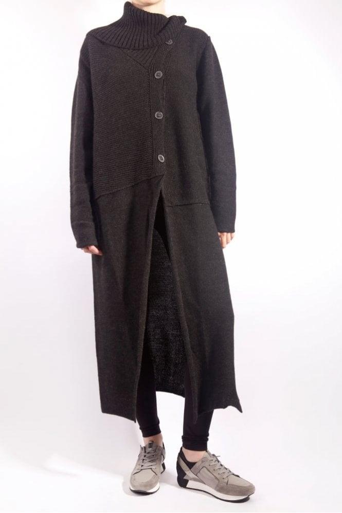 Crea Concept Long High Neck Cardigan in Black