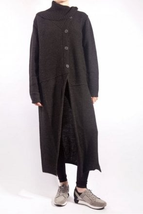 Long High Neck Cardigan in Black