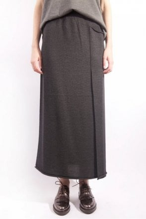 Long Knit Skirt in Charcoal