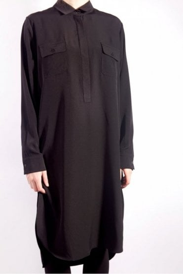 Long Shirt Dress in Black