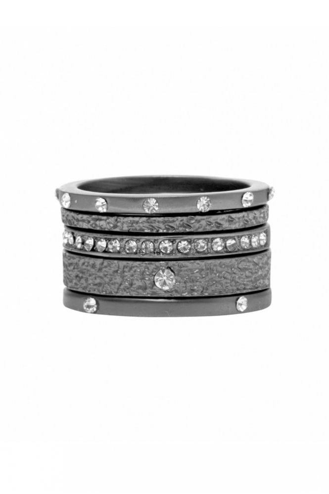 Dansk Smykkekunst Mix and Match Ring in Hematite and Crystal