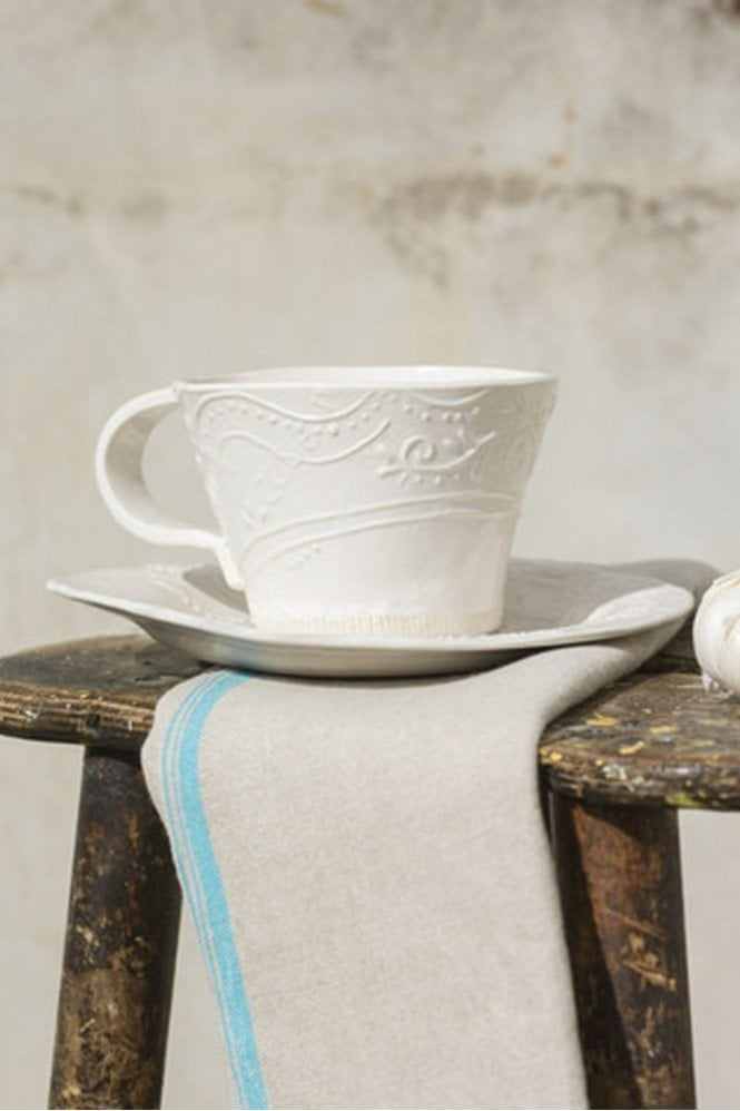 Dassie Peasant Soup Cup & Saucer in White