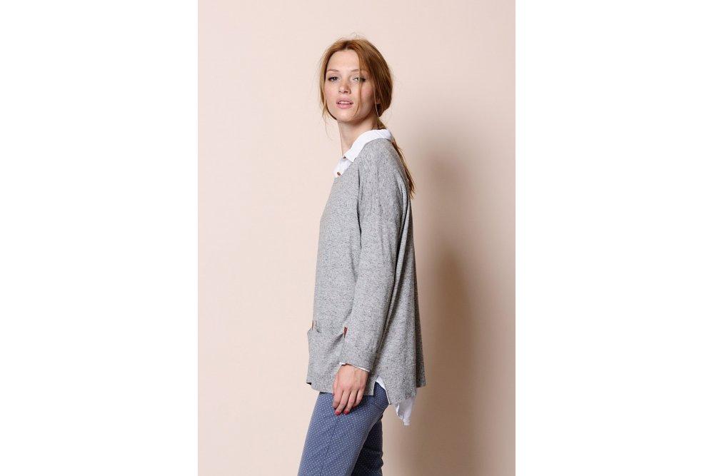 Des Petits Hauts Heather Grey Destin Sweater Sue