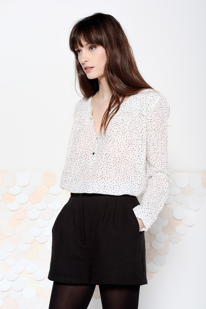 Des Petits Hauts Gasparine Spotty Collarless Blouse At Sue