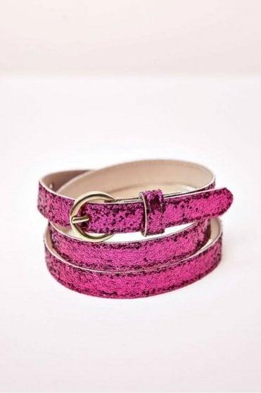 Loriette Glitter Belt in Fuchsia