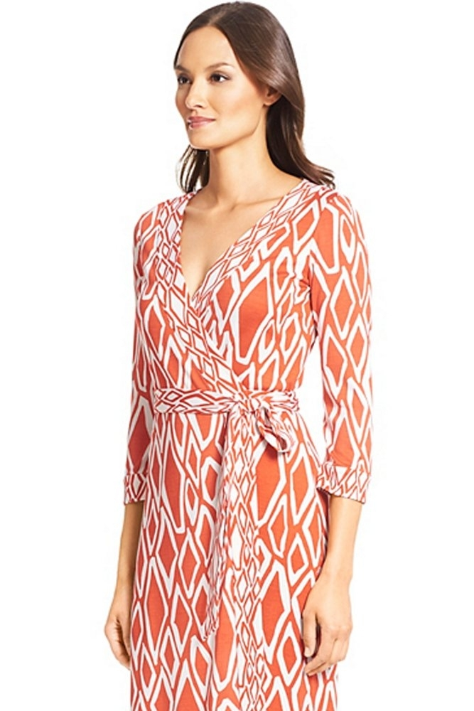 Dvf Banded Julian Silk Jersey Wrap Dress In Ikat Stamp Coral
