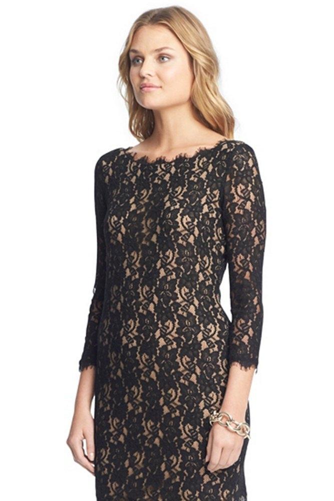 Dvf lace dress black