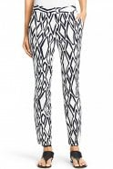 Diane Von Furstenberg Genesis Cotton Cropped Pant in Ikat Stamp White