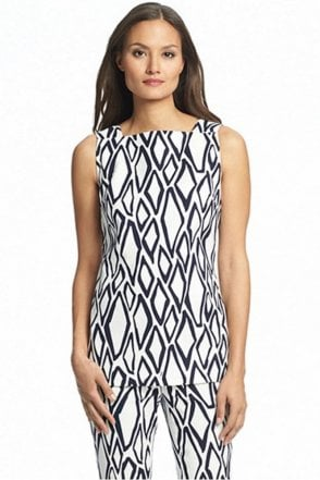 Kenza Cotton Tunic Top in Ikat Stamp White