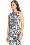 Diane Von Furstenberg Kenza Cotton Tunic Top in Ikat Stamp White
